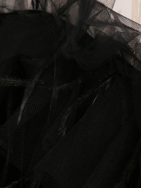 Бархатное платье-макси без рукавов - Деталь