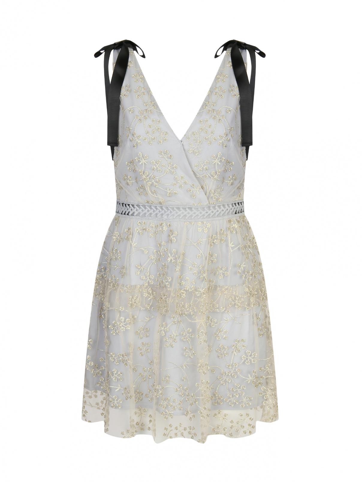 Платье-мини с узором и декоративными бантами Self-Portrait  –  Общий вид