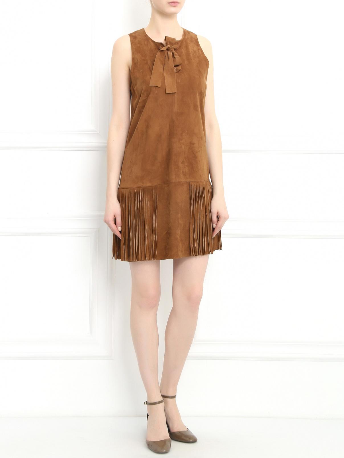 Платье из замши с бахромой Yves Salomon  –  Модель Общий вид  – Цвет:  Коричневый