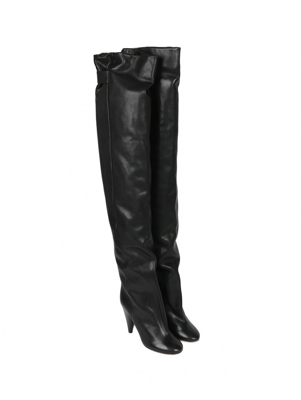 Ботфорты из кожи на высоком каблуке Isabel Marant  –  Общий вид  – Цвет:  Черный