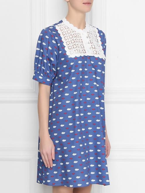 Платье из хлопка с принтом с кружевной вышивкой - МодельВерхНиз