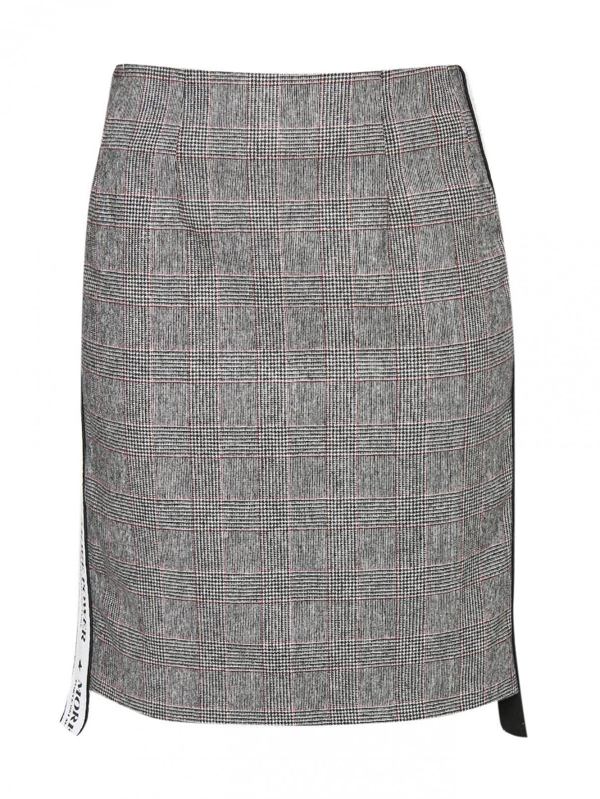Юбка-мини из смешанной шерсти с узором и контрастной отделкой FORTE COUTURE  –  Общий вид  – Цвет:  Серый