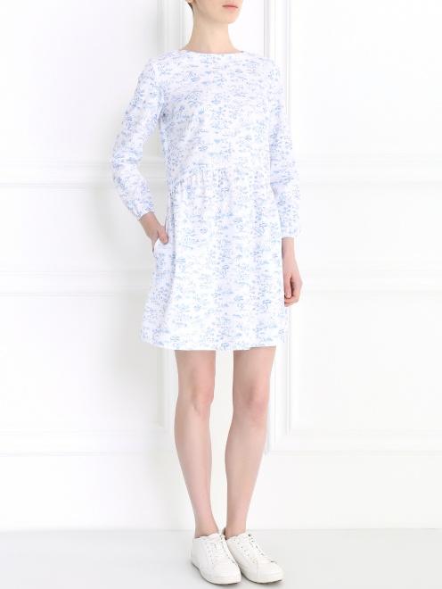 Платье-мини с длинным рукавом - Общий вид