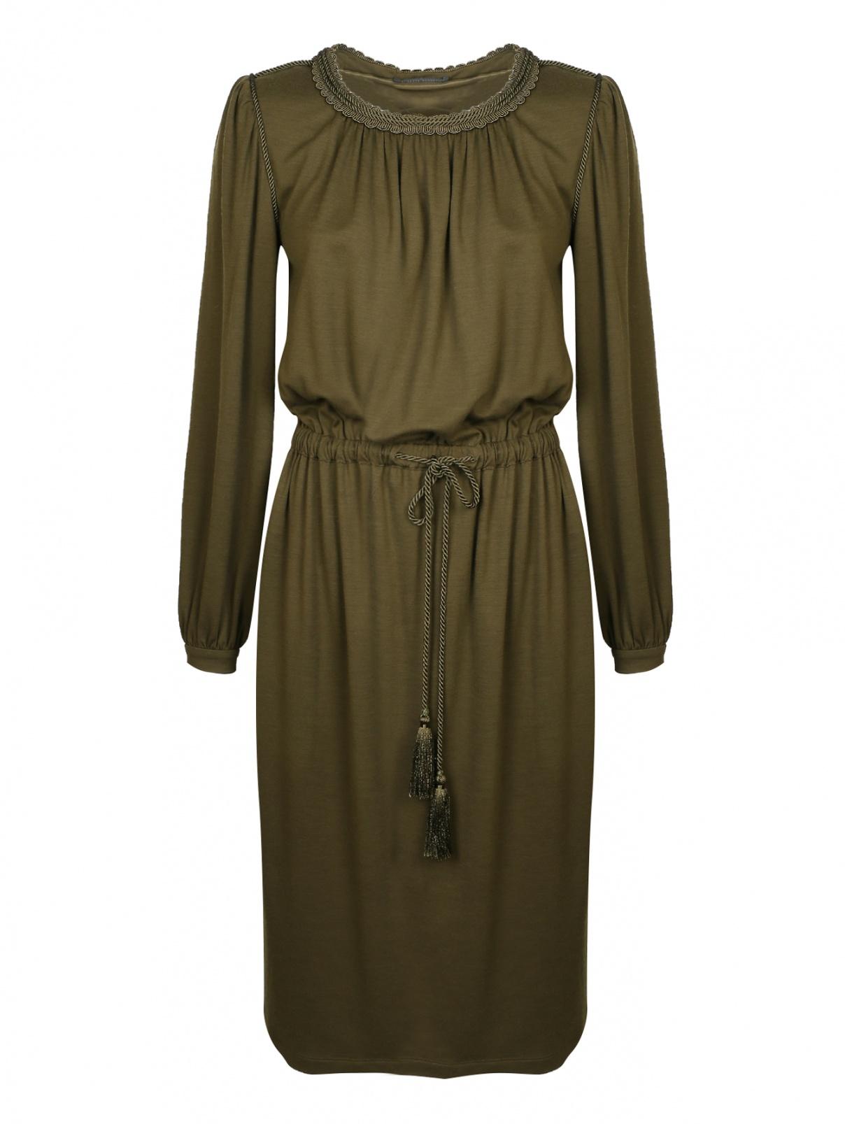Платье-миди, из шерсти, декорированное  шнурами Alberta Ferretti  –  Общий вид