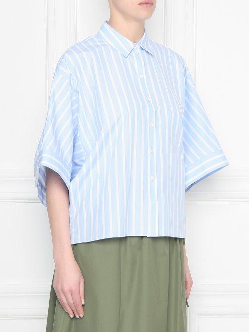 Блуза из хлопка в полоску - МодельВерхНиз