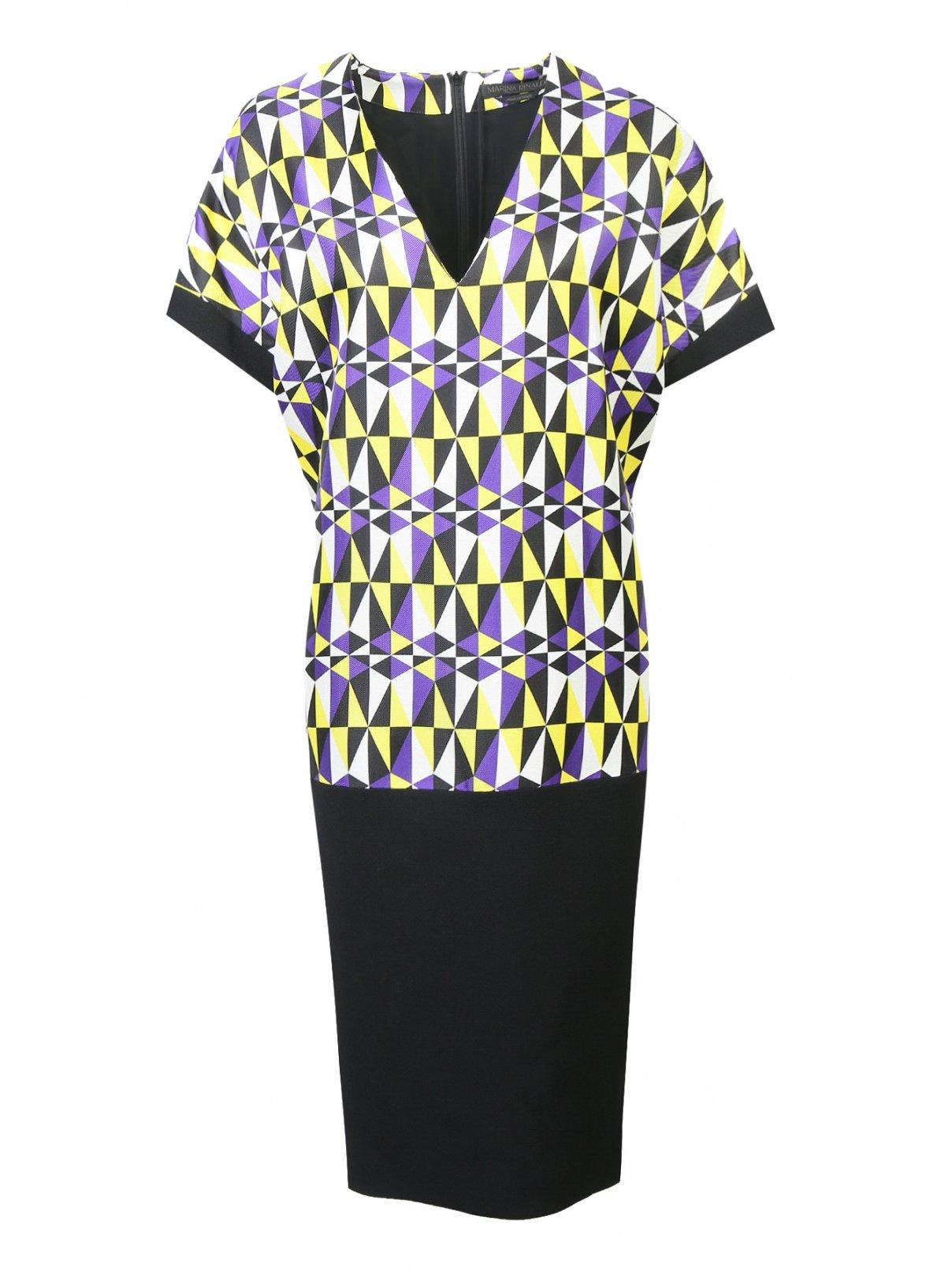 Платье-миди из шелка свободного кроя с узором Marina Rinaldi  –  Общий вид