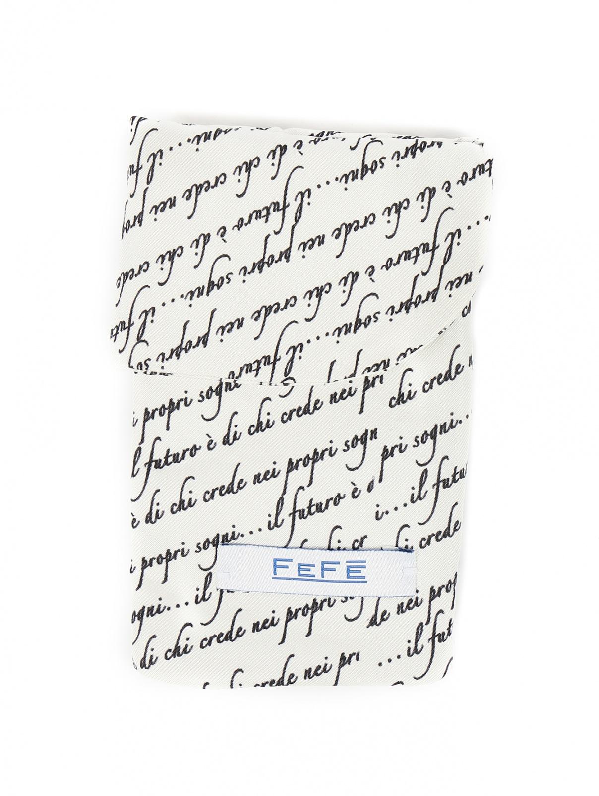 Чехол для IPhone из шелка с узором Fefe  –  Общий вид  – Цвет:  Белый