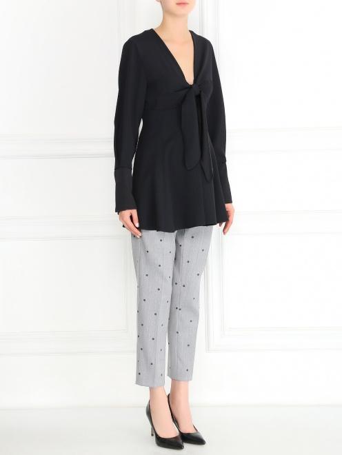 Блуза с длинными рукавами и драпировкой - Модель Общий вид