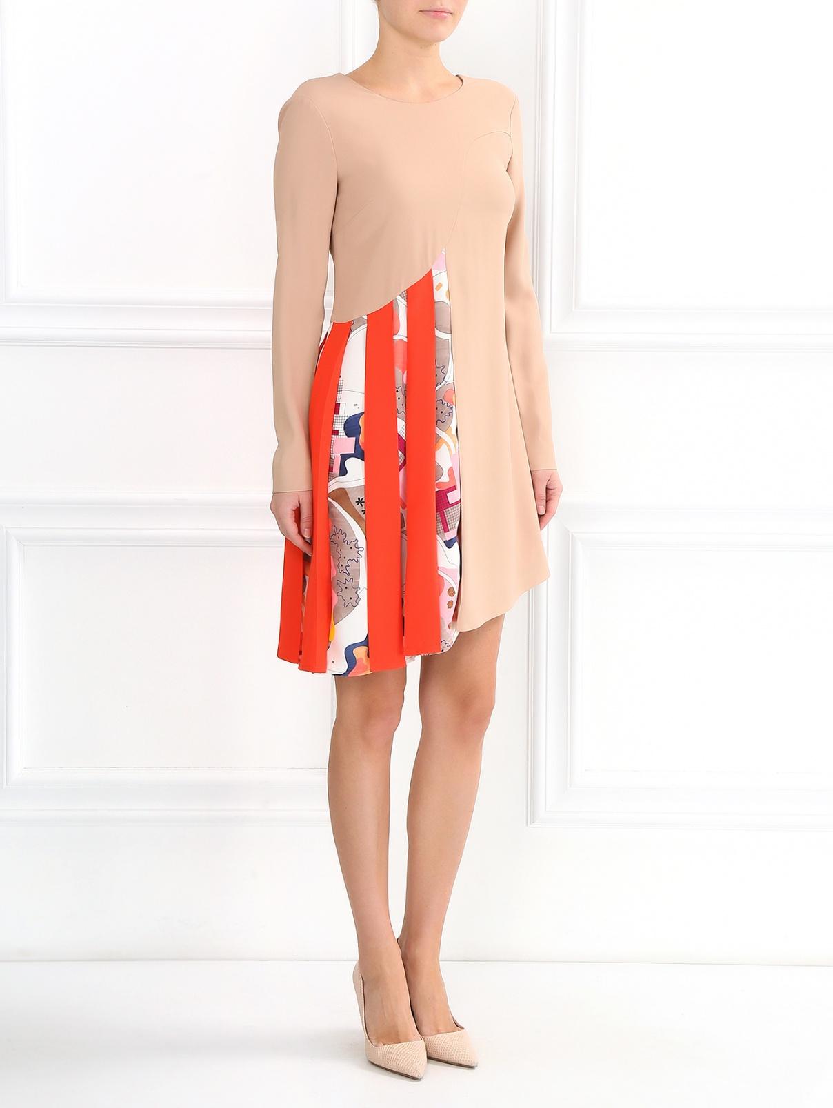 Платье ассиметричного кроя с контрастной вставкой MSGM  –  Модель Общий вид  – Цвет:  Бежевый