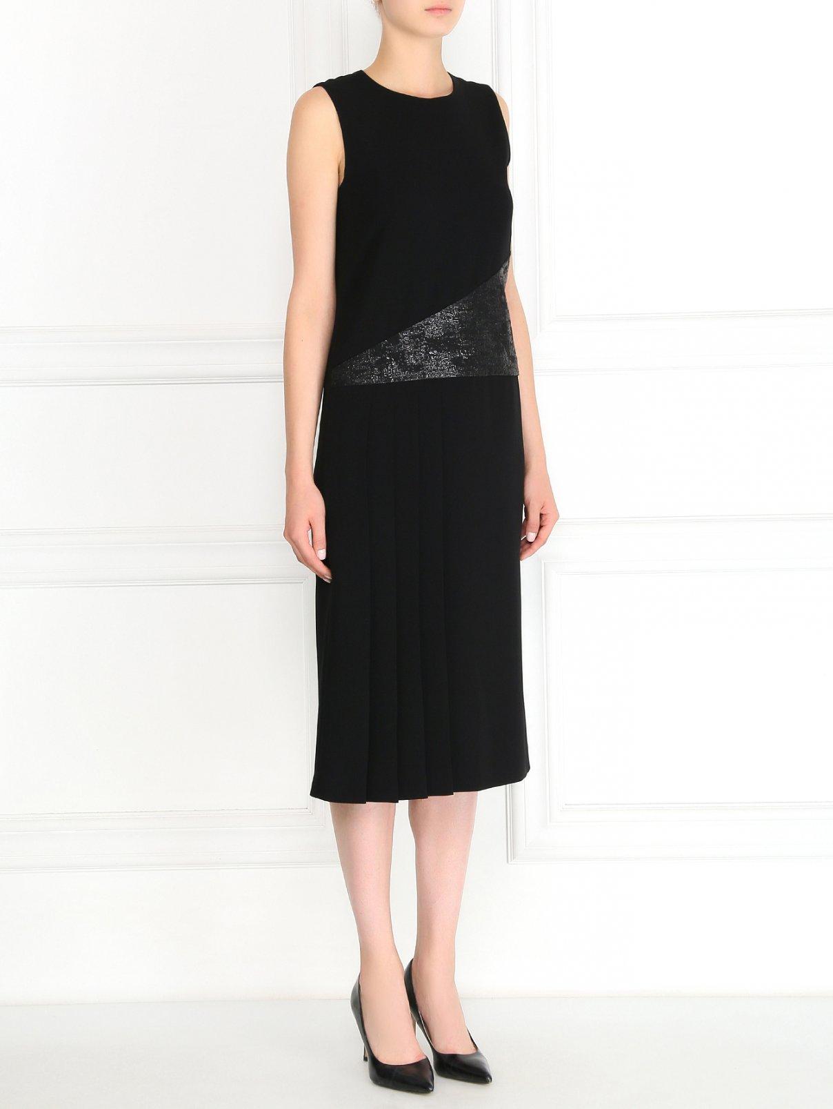 Платье-миди с плиссированной вставкой Max Mara Pianoforte  –  Модель Общий вид  – Цвет:  Черный
