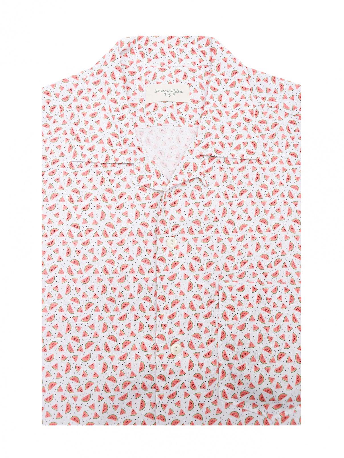 Рубашка из хлопка и льна с короткими рукавами Tintoria Mattei  –  Общий вид  – Цвет:  Узор