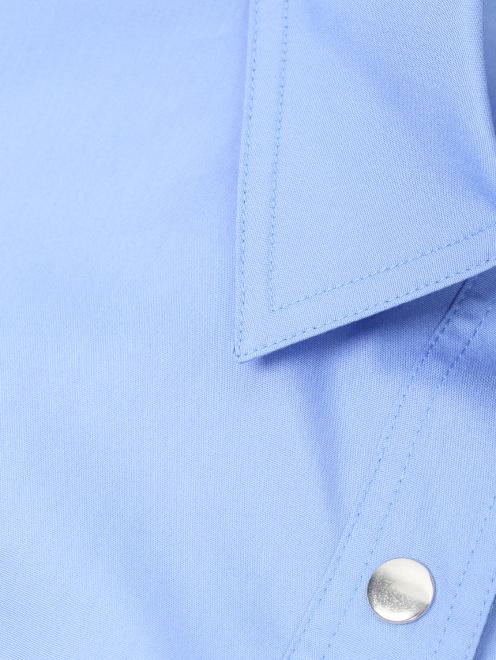 Рубашка из хлопка с короткими рукавами и накладными карманами - Деталь