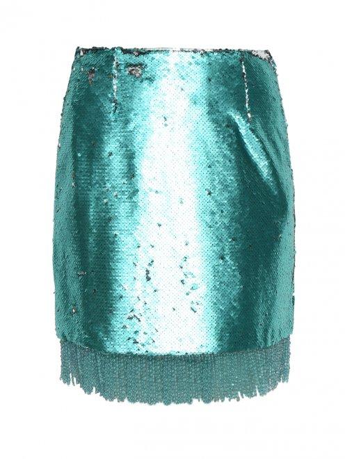 Юбка из ткани с пайетками с бахромой из бисера - Общий вид