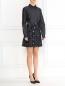 Платье-мини из хлопка и льна с вышивкой N21  –  Модель Общий вид