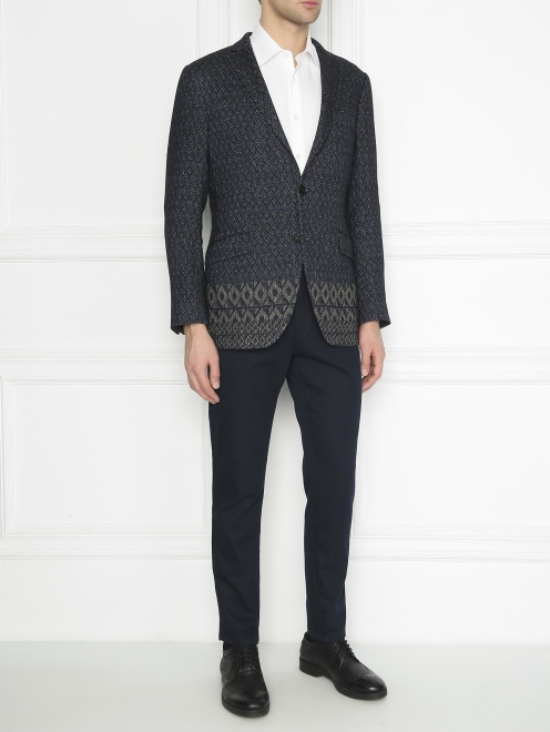 Пиджак однобортный из льна с узором  - Общий вид