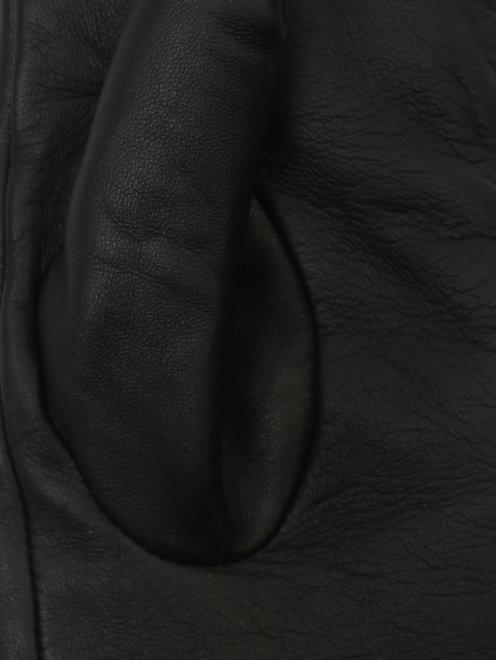 перчатки кожаные с контрастными вставками  - Деталь