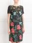 Платье из хлопка с цветочным узором и боковыми карманами Isola Marras  –  Модель Верх-Низ