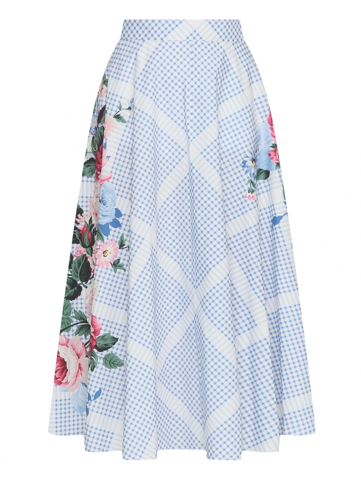 Юбка-миди из хлопка с цветочным узором Weekend Max Mara  –  Общий вид  – Цвет:  Узор
