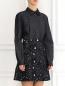 Платье-мини из хлопка и льна с вышивкой N21  –  Модель Верх-Низ