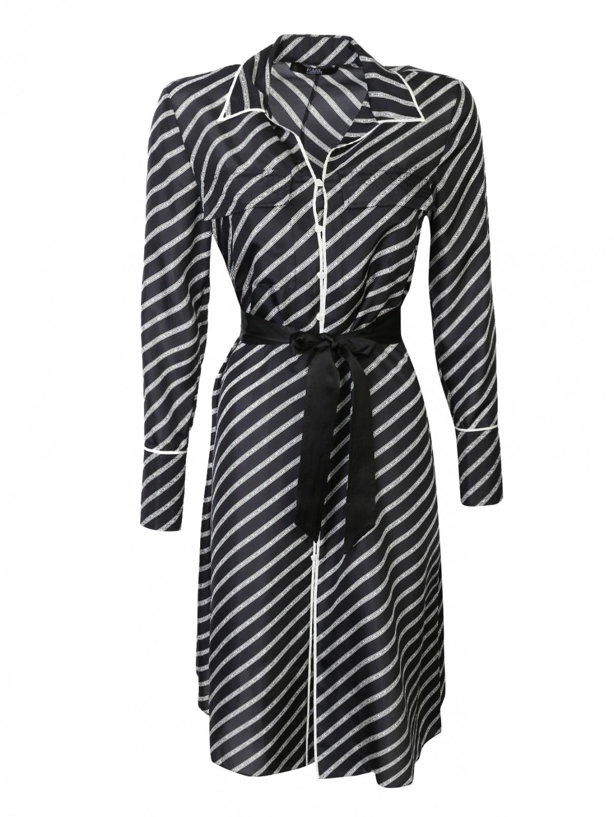 Платье-рубашка, с узором, с поясом Karl Lagerfeld  –  Общий вид