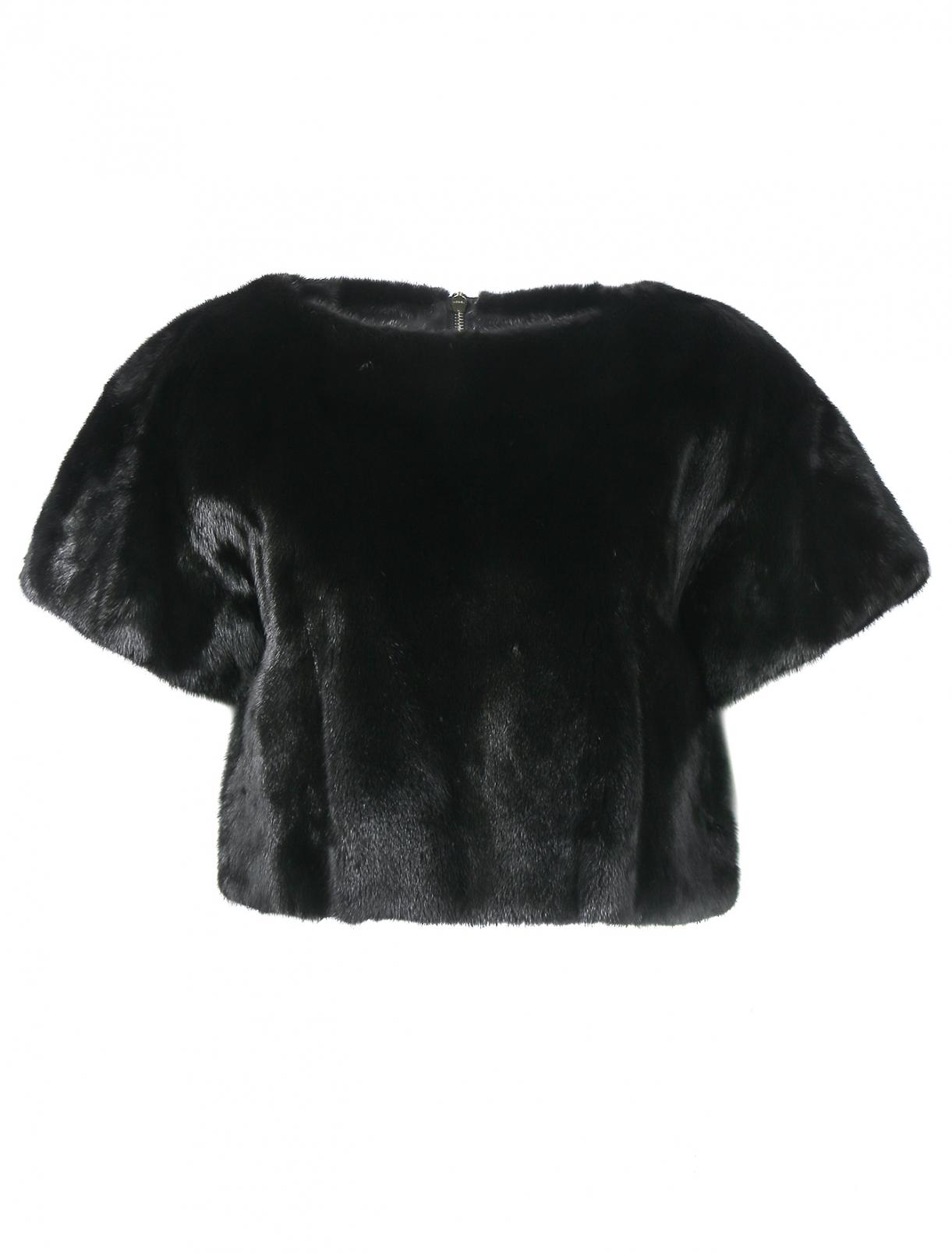 Топ из меха норки с короткими рукавами Yves Salomon  –  Общий вид  – Цвет:  Черный