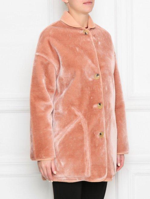 Пальто однобортное прямого силуэта на пуговицах  - МодельВерхНиз