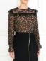 Блуза из шелка с цветочным узором и кружевной отделкой Philosophy Di Lorenzo Serafini  –  Модель Верх-Низ