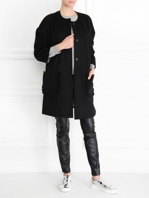 Однобортное пальто из шерсти - МодельОбщийВид