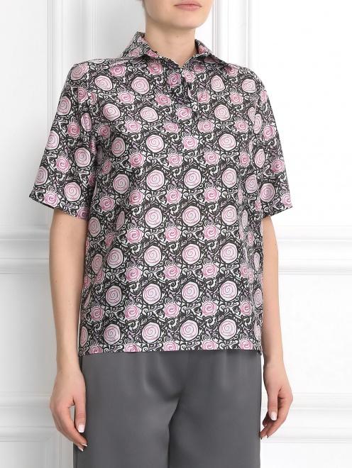 Блуза из шелка с узором - Модель Верх-Низ