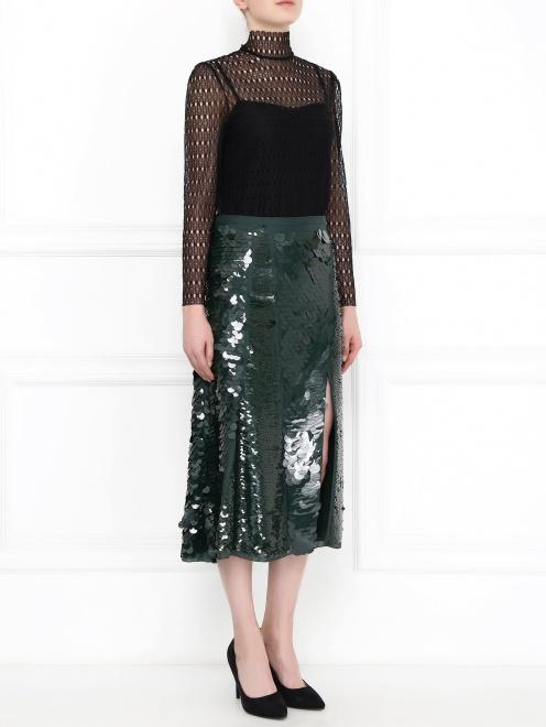 Ажурная блуза с длинными рукавами - Модель Общий вид