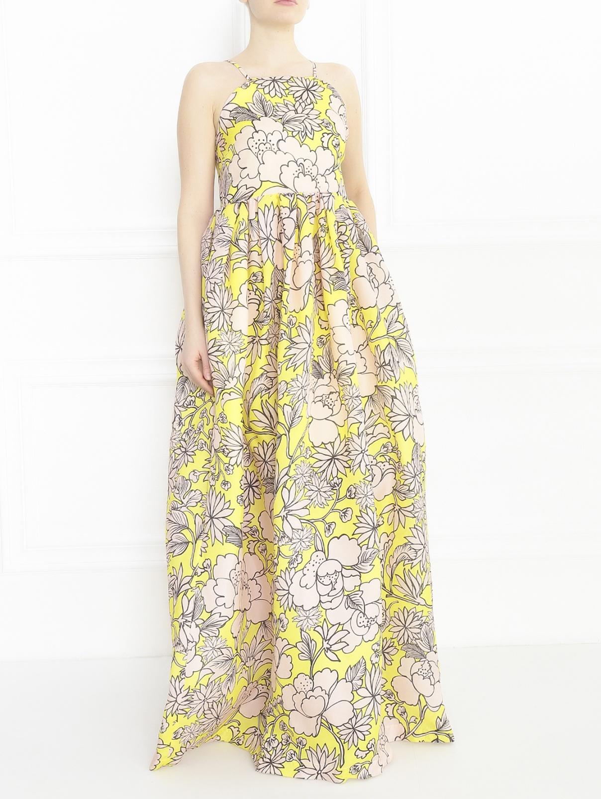 Платье-макси из шелка с цветочным узором MSGM  –  Модель Общий вид