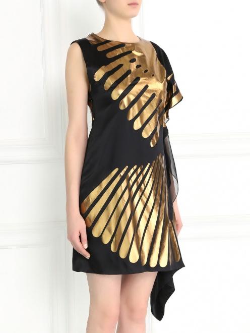 Асимметричное платье-мини из шелка с принтом - Модель Верх-Низ