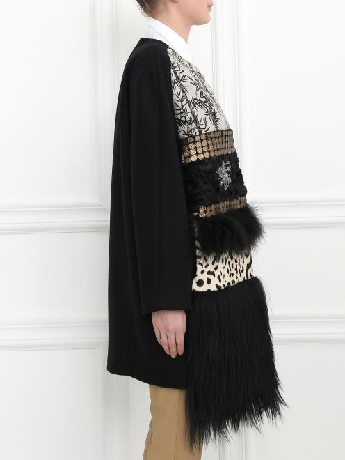 Пальто из шерсти со вставкой из меха и кожи - Модель Верх-Низ2