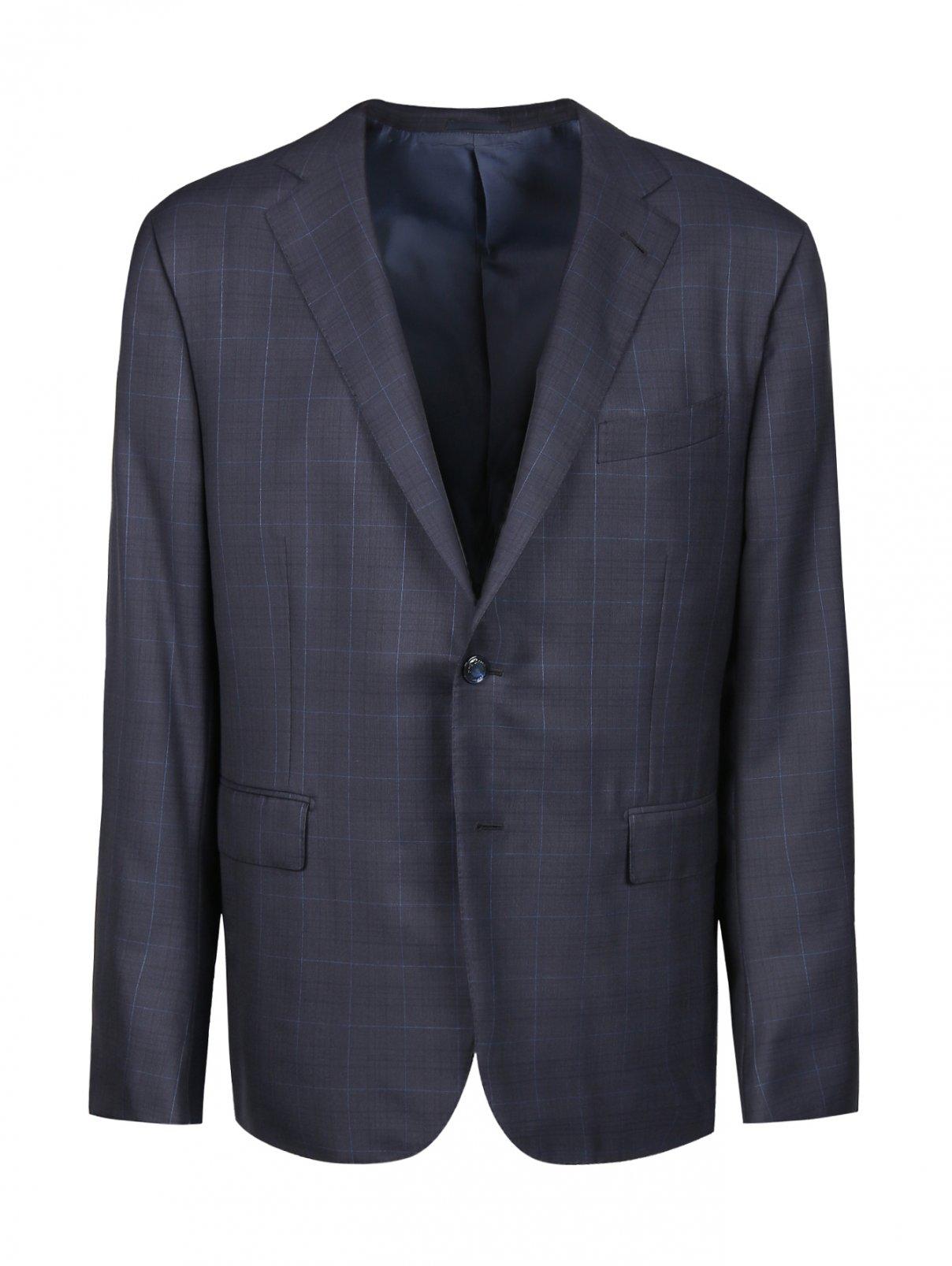 Пиджак из шерсти с узором Ermenegildo Zegna  –  Общий вид  – Цвет:  Синий
