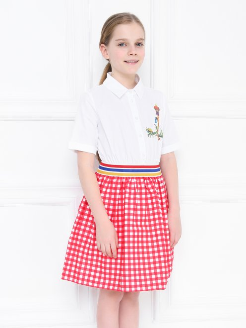 Платье-рубашка в юбкой в клетку - МодельВерхНиз