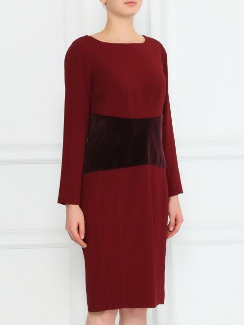 Платье-футляр с бархатной вставкой - Модель Верх-Низ