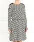 Трикотажное платье-миди из хлопка с узором Emporio Armani  –  Модель Верх-Низ