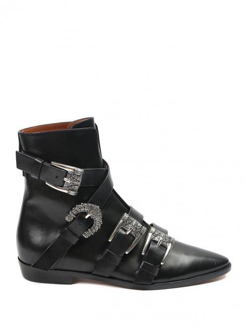 Ботинки кожаные с металлическими пряжками - Общий вид