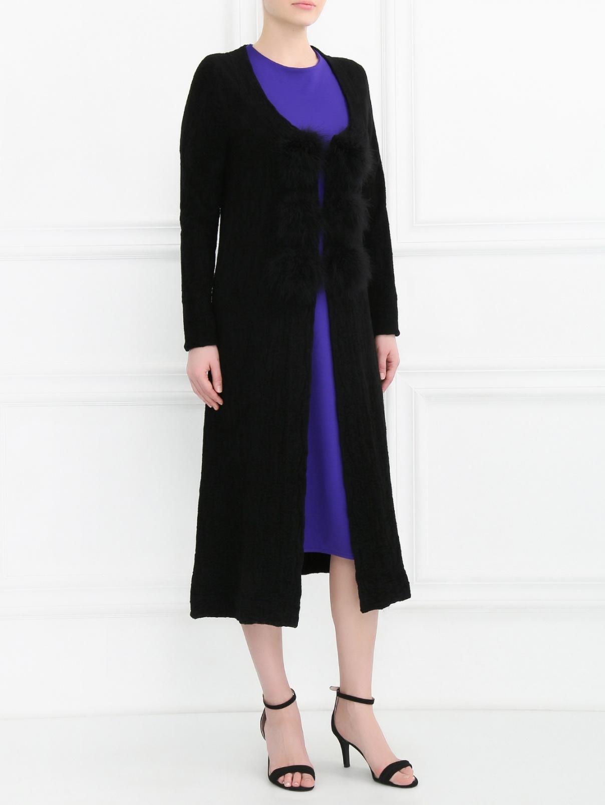 Удлиненный кардиган с меховой отделкой Sonia Rykiel  –  Модель Общий вид  – Цвет:  Черный