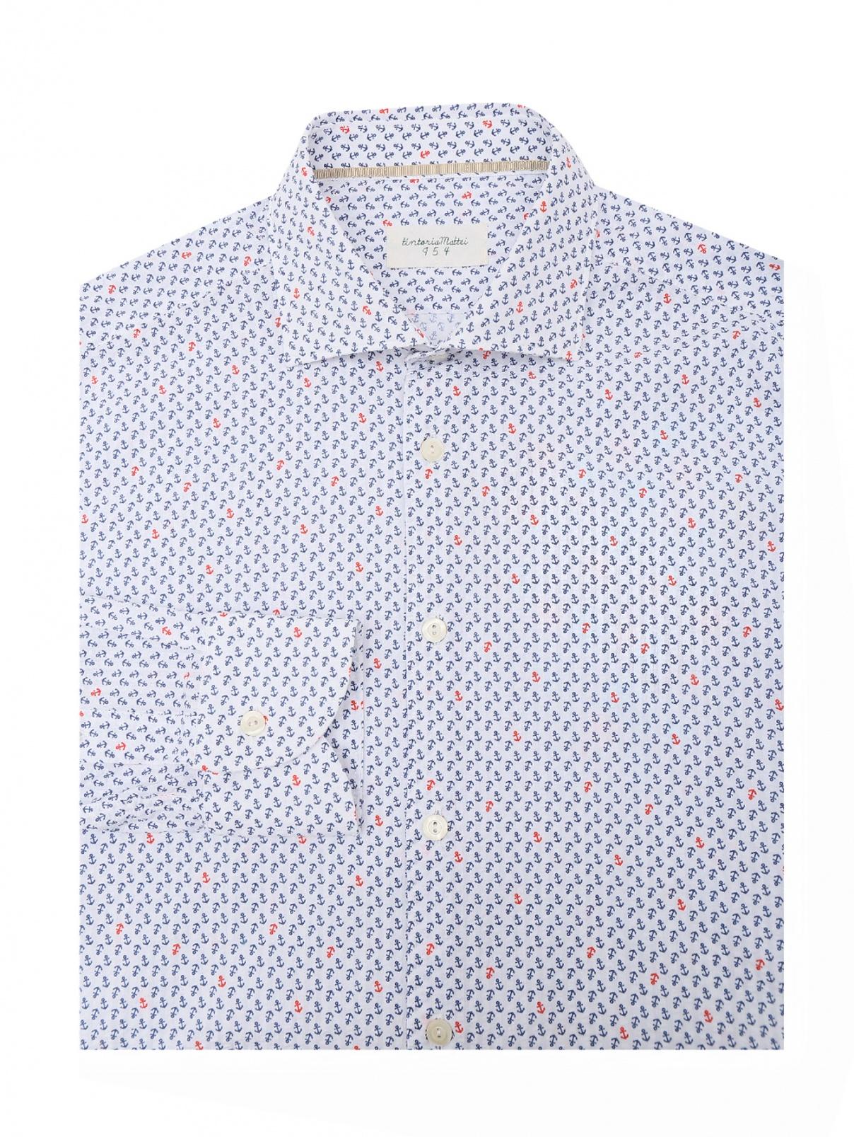Рубашка хлопковая с узором Tintoria Mattei  –  Общий вид  – Цвет:  Белый
