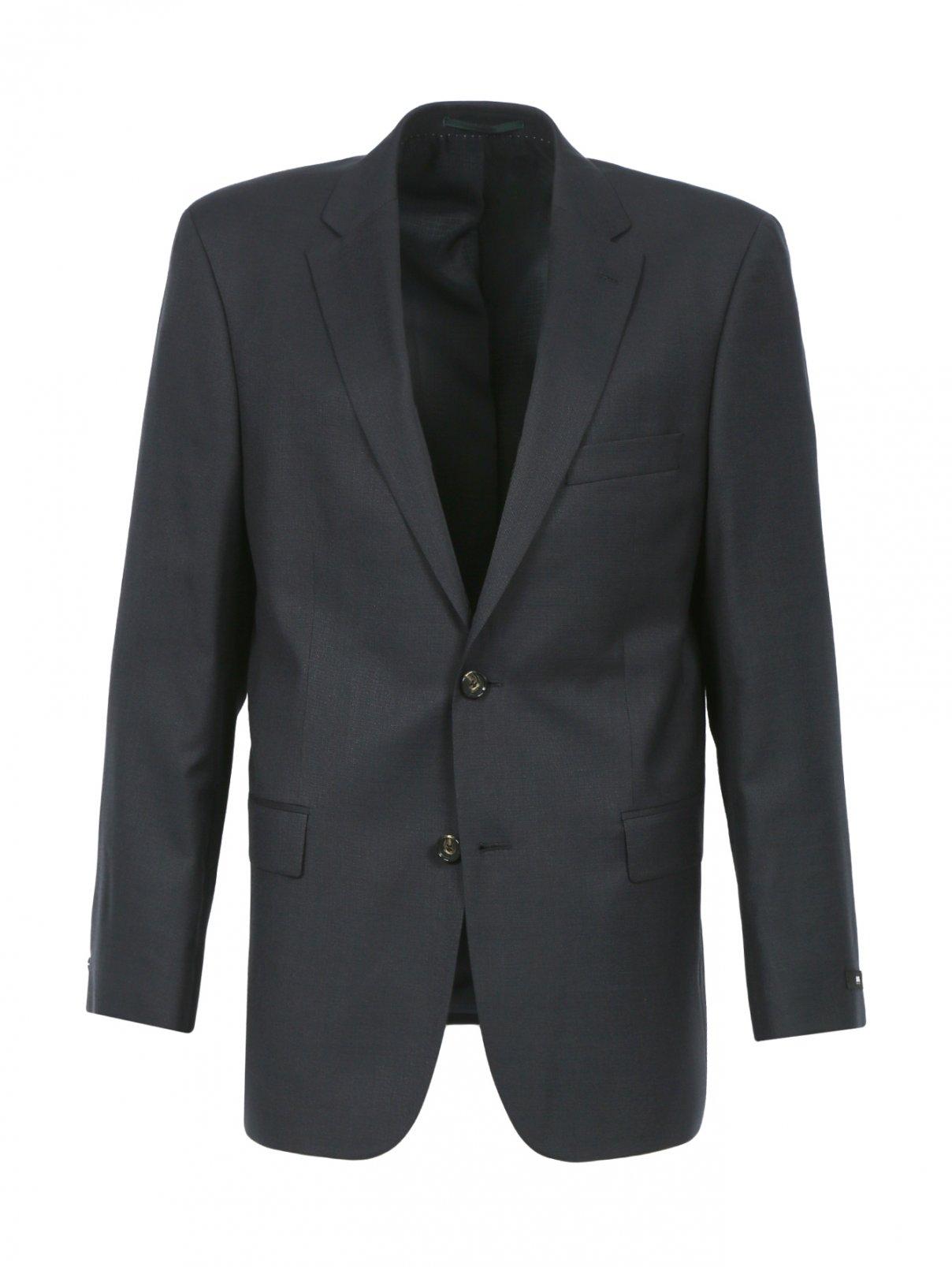 Однобортный пиджак из шерсти и шелка Boss  –  Общий вид  – Цвет:  Серый