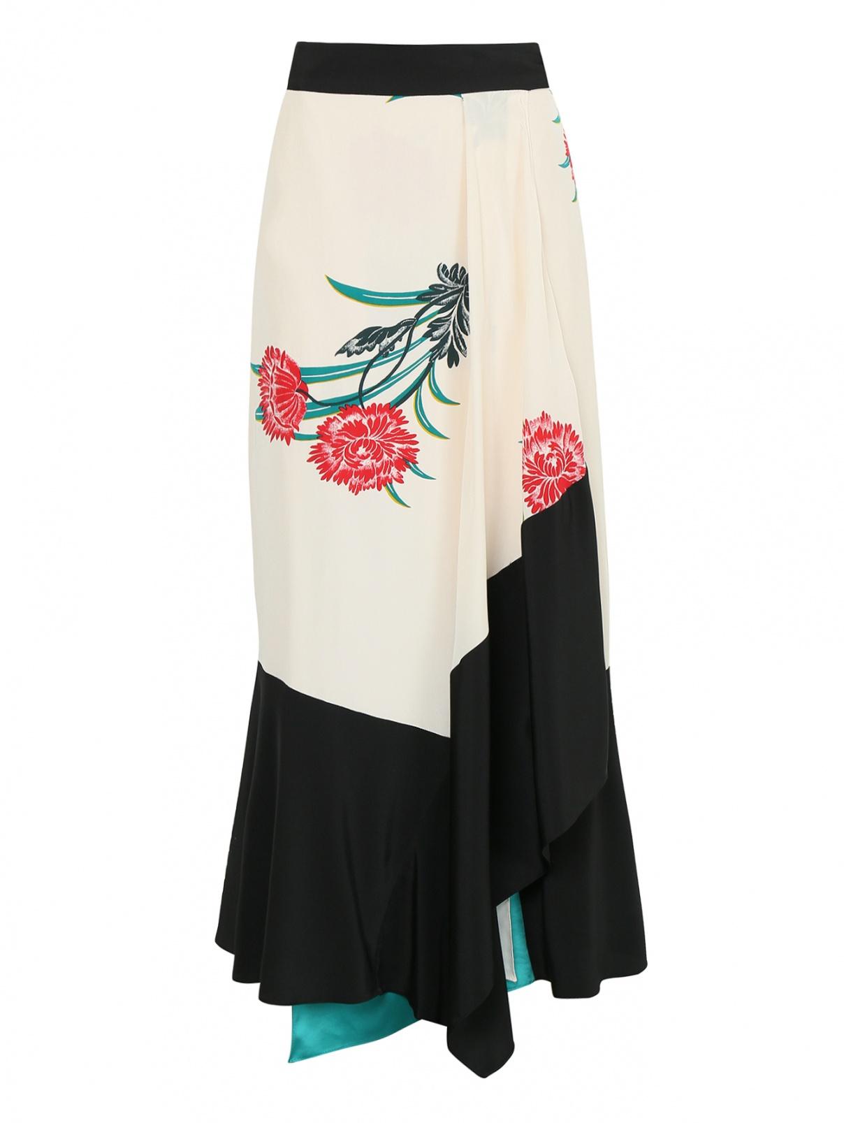 Юбка из шелка с цветочным принтом ассиметричного кроя Diane von Furstenberg  –  Общий вид  – Цвет:  Белый
