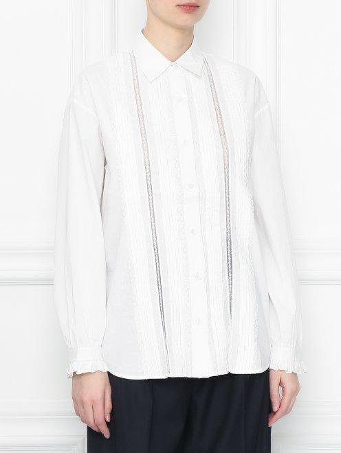 Рубашка из хлопка с кружевной отделкой - МодельВерхНиз