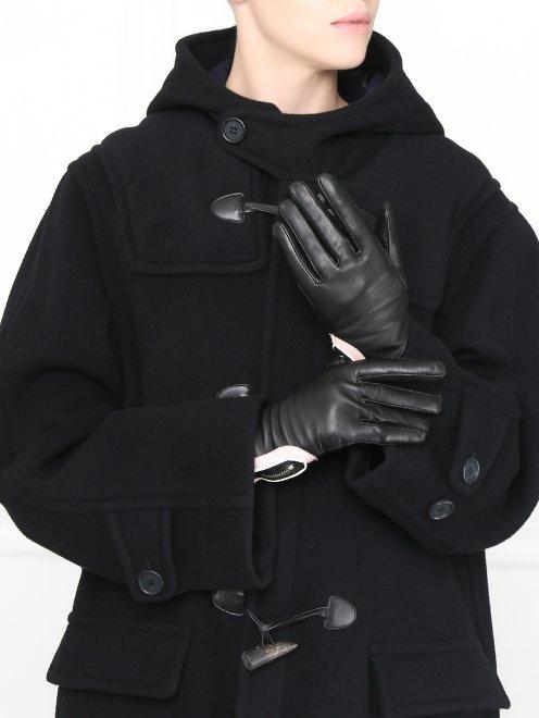 перчатки кожаные с контрастными вставками  - Общий вид