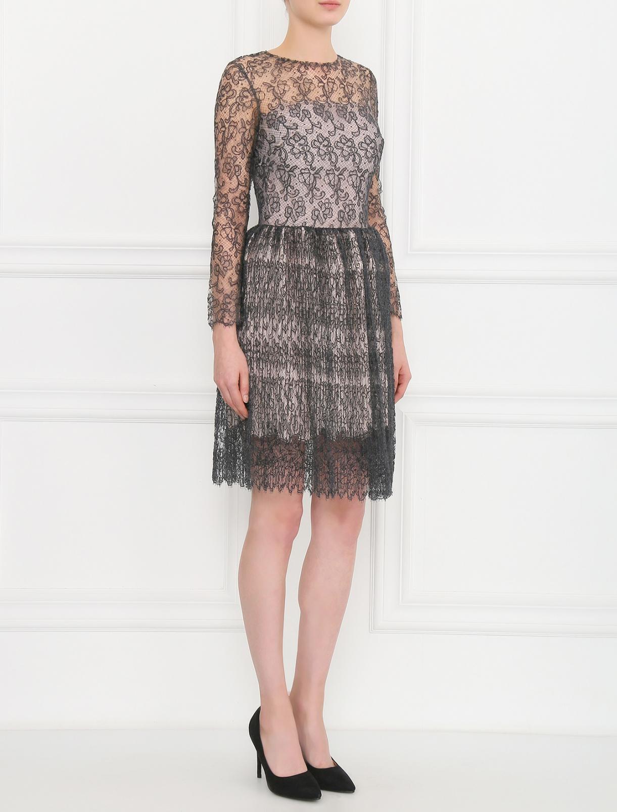 Платье-мини из шелка с ажурным узором Ermanno Scervino  –  Модель Общий вид