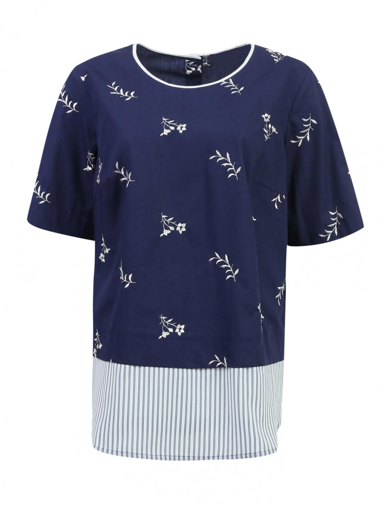 Блуза из хлопка декорированная вышивкой Marina Sport  –  Общий вид  – Цвет:  Узор
