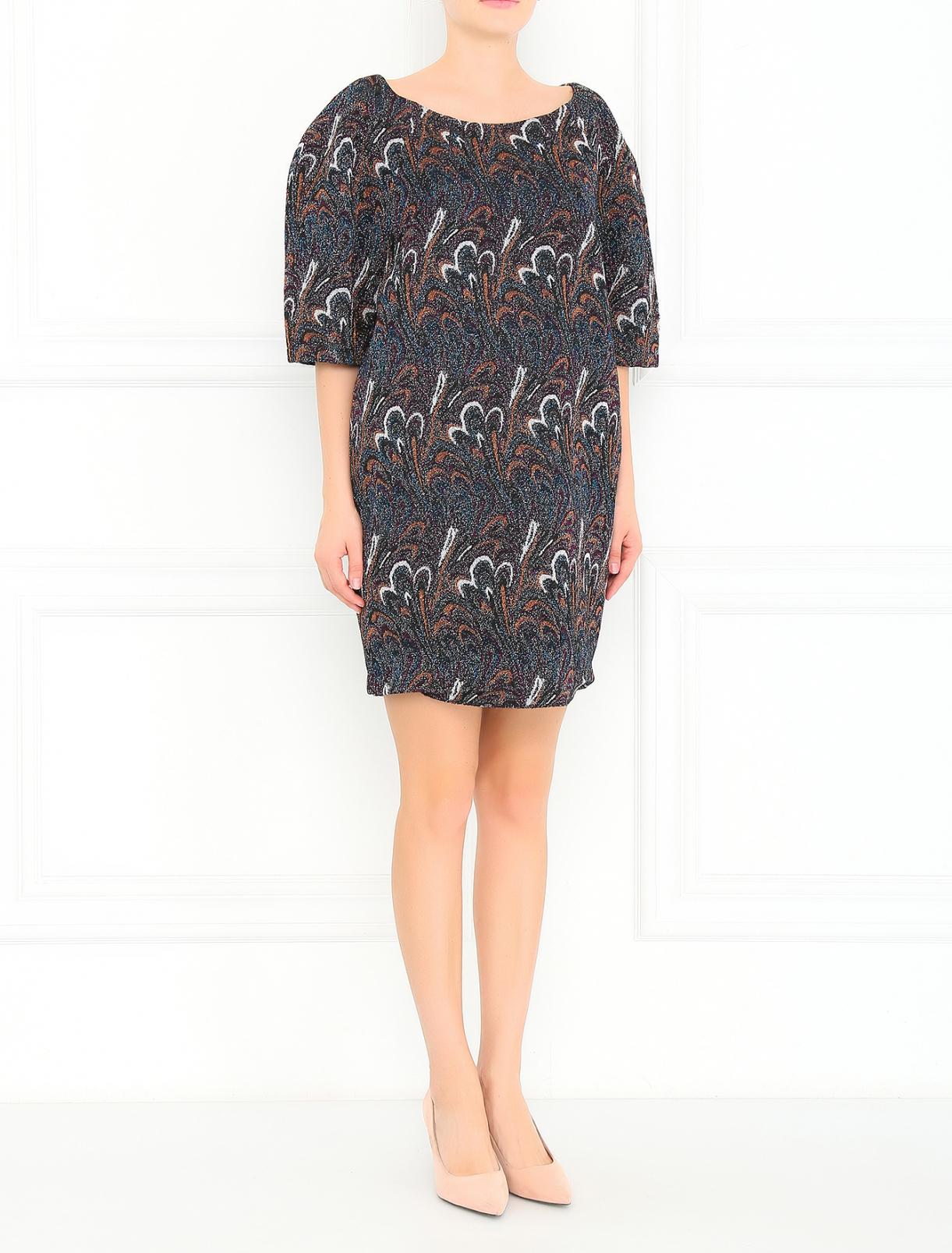 Платье с короткими рукавами и узором GIG Couture  –  Модель Общий вид  – Цвет:  Синий