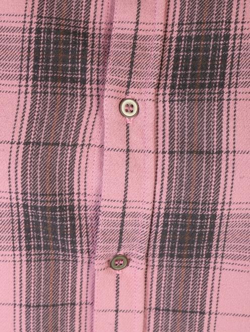 Рубашка хлопковая с узором клетка - Деталь1