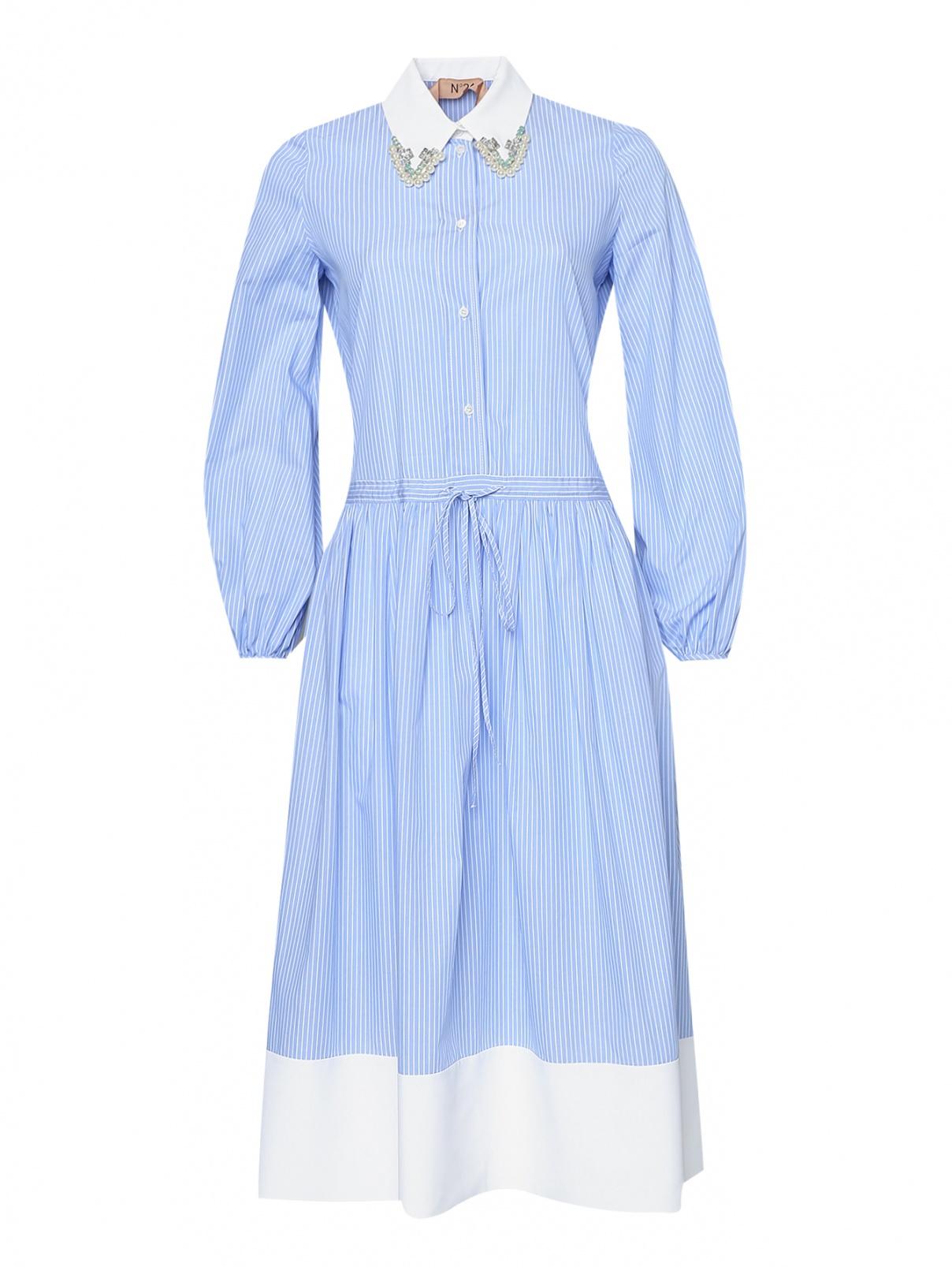 Платье в полоску с декоративным воротником N21  –  Общий вид  – Цвет:  Синий