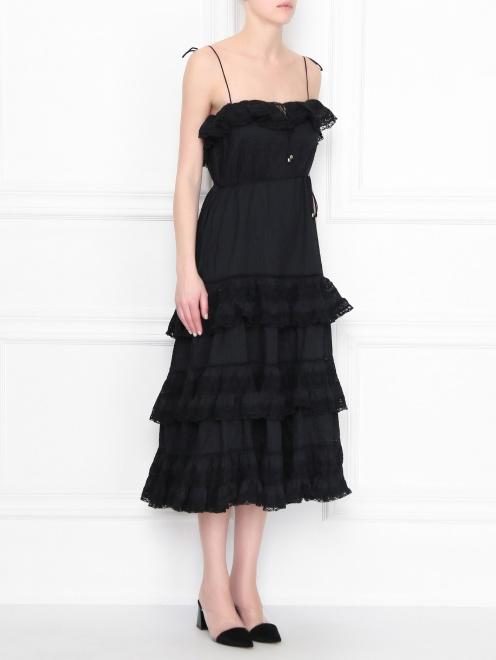 Платье из хлопка с кружевной отделкой - МодельВерхНиз